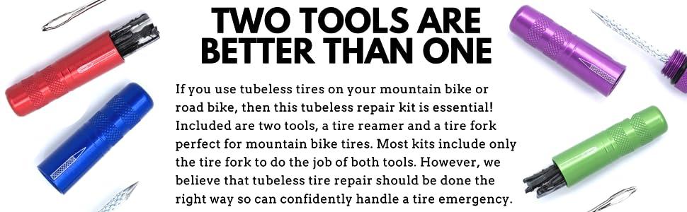 KOM Cycling Tubeless Tire Repair Tool Tire Fork + Reamer