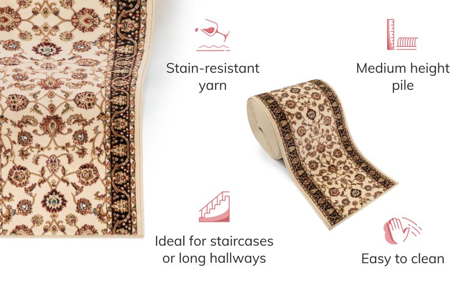 Well Woven custom cut roll runner extra long hall hallway stair stairway rug gold persian sarouk
