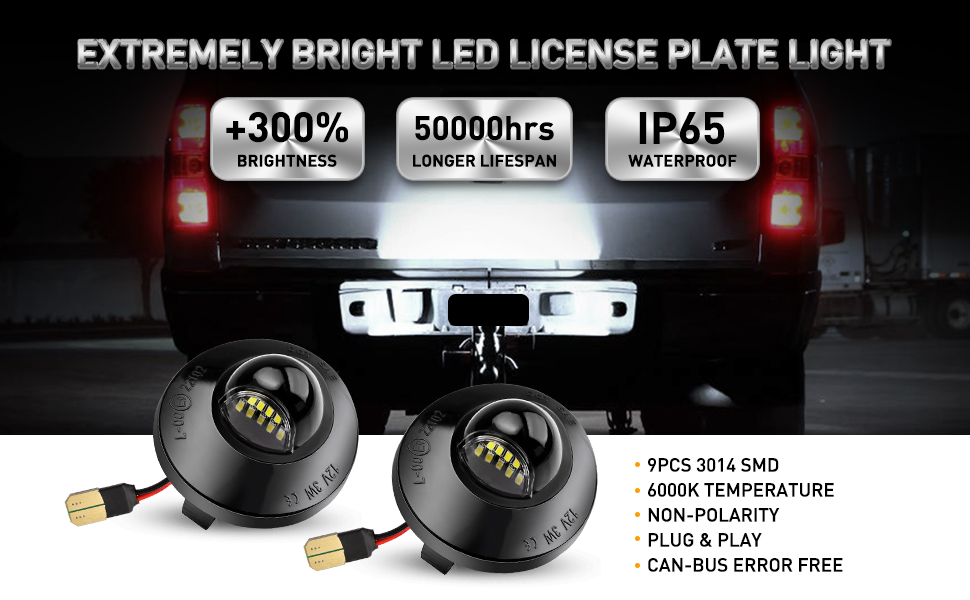 Xprite White LED License Plate Light Assembly Replacement Tag Lamp for 1990-2014 Ford F-150 1990-1999 F-250 F-350 Superduty Ranger Explorer Bronco Excursion Expedition Pickup Truck
