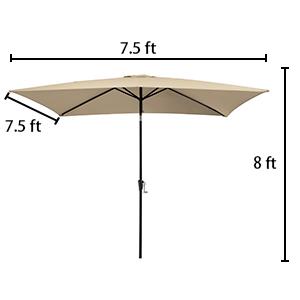 7.5ft square patio umbrella