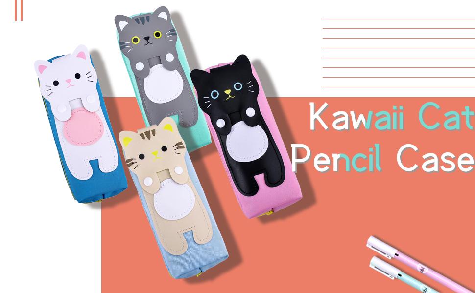 iSuperb 2PK Estuche Escolar Pequeño Plumier Pencil Holder Gran Capacidad Estuche Gato Kawaii Azul Verde Pencil Case Lona (Gato gris + blanco): Amazon.es: Oficina y papelería