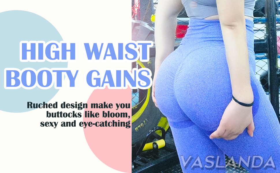 vaslanda high waist ruched  butt lifting yoga pants scruch workout booty leggings gym tights