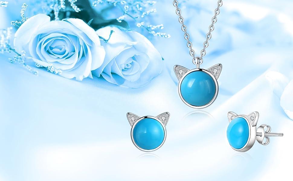 sterling silver cat pendant necklace kitty stud earrings jewelry set wedding birthstone women girls