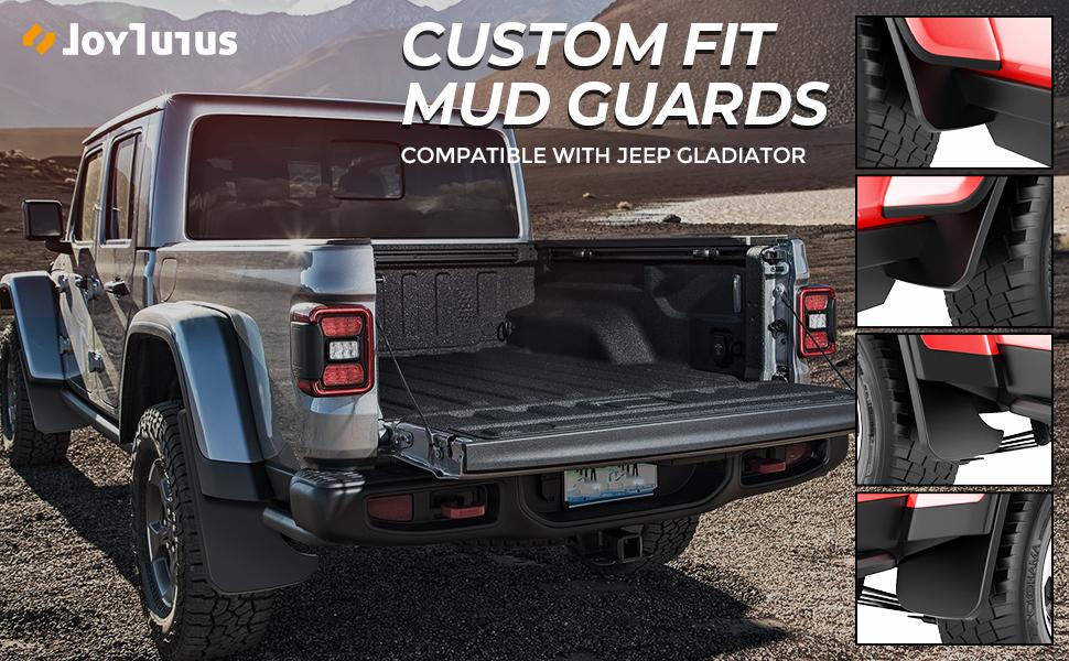JoyTutus Molded Splash Guards Set Compatible with 2020 Jeep Gladiator Premium Heavy Duty Molded Mud Flaps Guards Splash Flares Front /& Rear 4 Piece Set