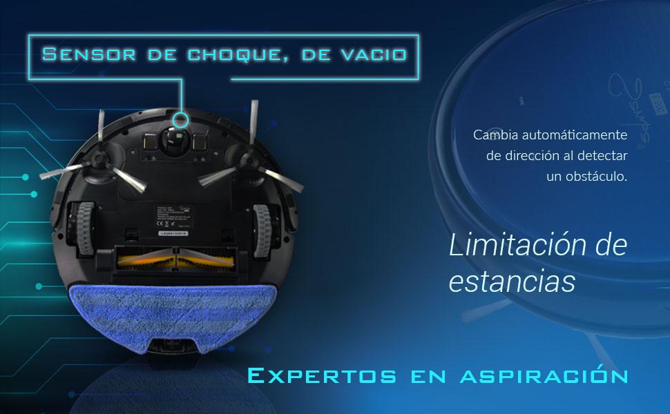 SAMBA E500 Robot Aspirador Y Fregasuelos ¡5en1! con Mapeo y App. Aspirador de Suelo Programable Apto para Todos los Suelos con 7 Modos de Limpieza, Limitación de Estancias y Autonomía 100 Minutos:
