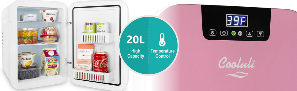 cooluli concord 20L 20-liter 24 can portable mini fridge snacks drinks skincare cosmetics make-up