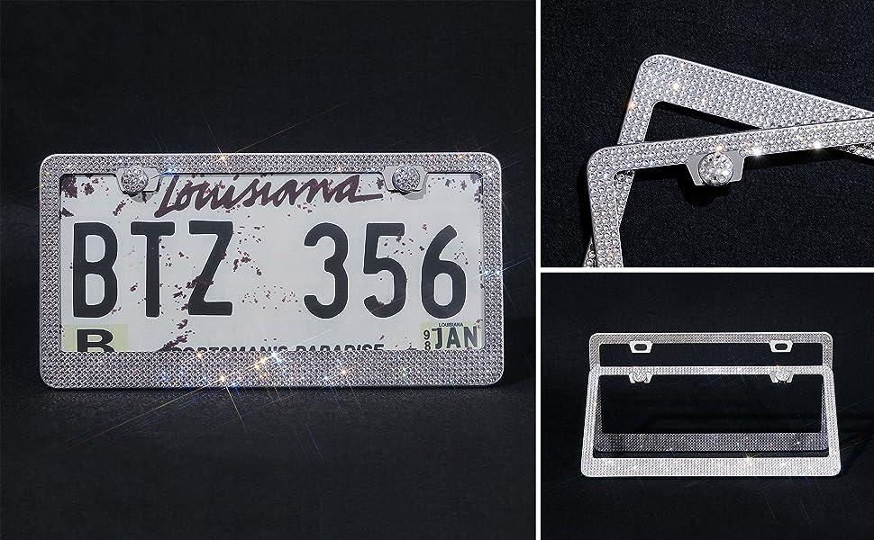 Stainless Steel License Plate Frame Black Large Square Rhinestone Ornament License Plate Holder Durable Multi Color Metal Frame for Standard Size License Plates