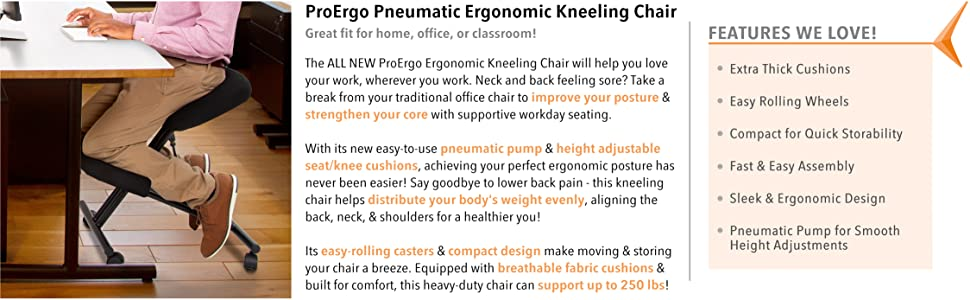 Stand Steady pneumatic kneeling chair height adjustable rolling kneeling stool ergonomic posture pro