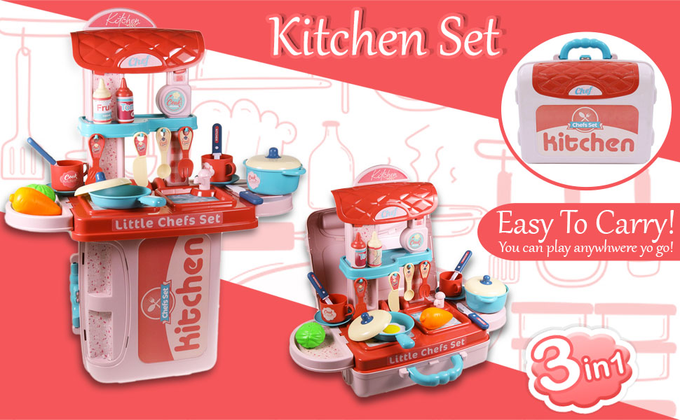 Kitchen Set 3in1 Easy To carry Anywhere Anytime Fun Play Pretend Play