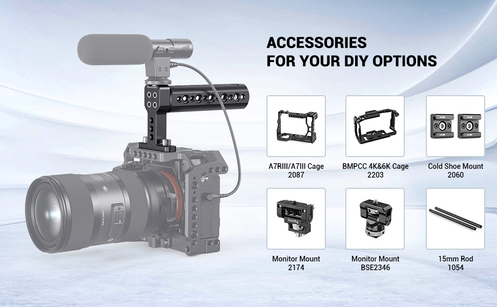 Portable Aluminum 3 Cold Shoes Adapter Camera Handle Bracket Holder Grip Mount hudiemm0B Camera Handle Grip