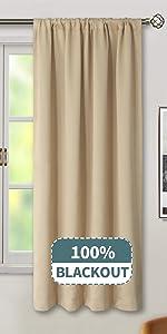Rod Pocket 100% Blackout Curtains