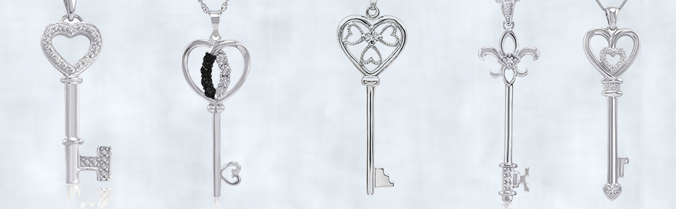 """Diamond Key to Her Heart Pendant-Necklace in Sterling Silver on an 18"""" Box Chain"""