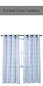 light blue printed sheer curtains
