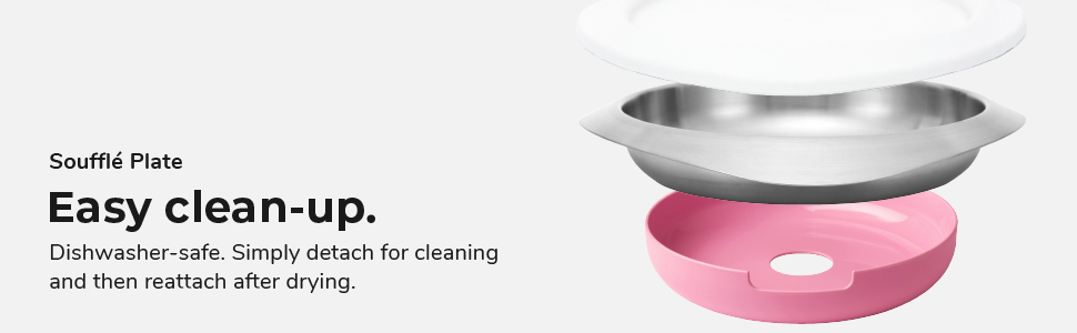 VIIDA, souffle plate, dishwasher safe, detachable, food-grade silicone, kids plate, dining plate