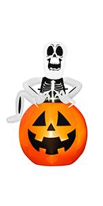 Inflatable Skeleton on Pumpkin