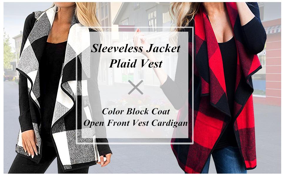 Yacun Women Plaid Vest Open Front Flannel Buffalo Sleeveless Cardigan Shawl Coat