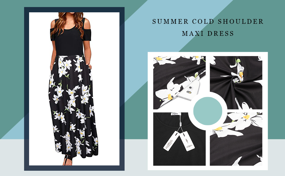 d20f4848c0 STYLEWORD Women's Summer Cold Shoulder Floral Print Elegant Maxi ...