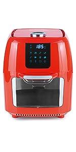 1800 Watt//Schwarz Edelstahl Applikation GOURTMETmaxx Digitale Design Hei/ßluftfritteuse 7,2 Liter Sichtfenster im Deckel nahezu ohne Fett mit Grillplatte und Rotisserie