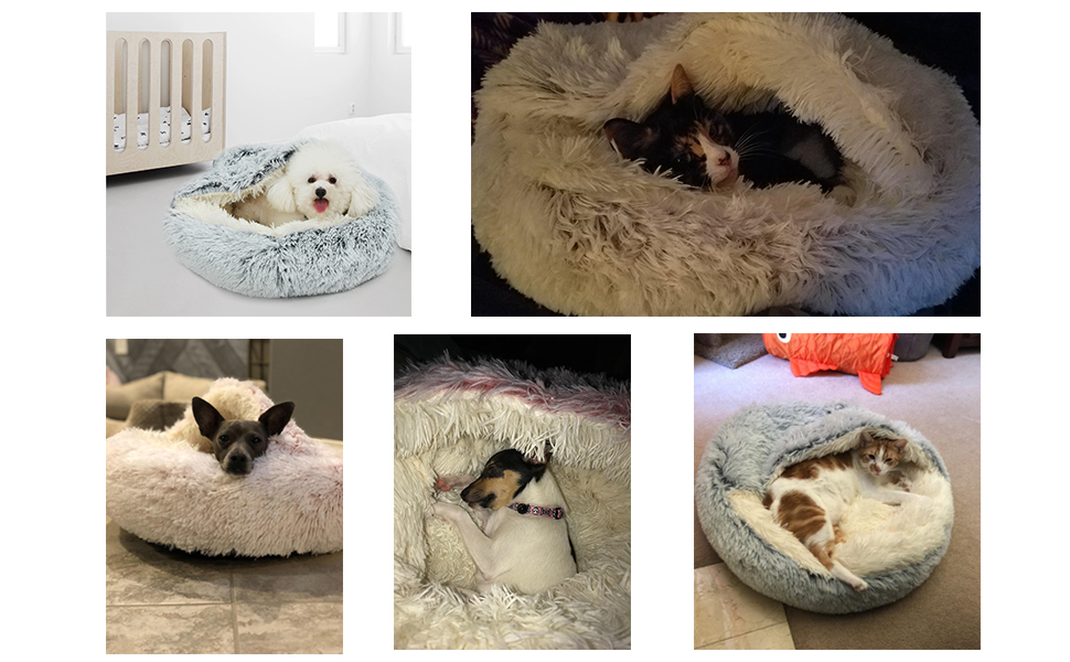 Small Dog Bed & Cat Bed, Round Pet Beds for Indoor Cats or Small Dogs, Round Machine Washable