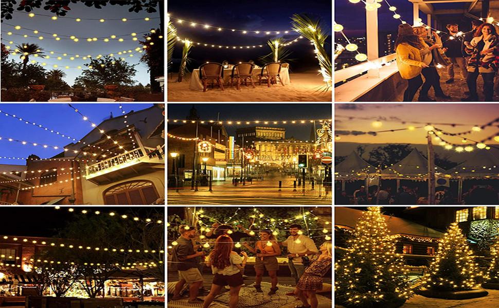 Guirnalda Luces Exterior Solar Cadena de Luces, 60 LED 10M IP65 Impermeable 8 Modos Guirnalda Luminosas, Luces Solares LED Exterior Jardin, Casas, Boda, Fiesta, Festival [Clase Energética A ++]: Amazon.es: Iluminación