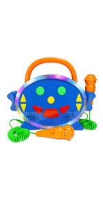 Kidzlane karaoke player for kids two mics toddler music toy record playback bluetooth 100 songs