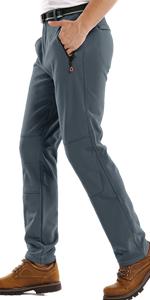 Hiking Pants Mens,Waterproof Fleece Ski Snow Fish Insulated Soft Shell Outdoor Winter Pants