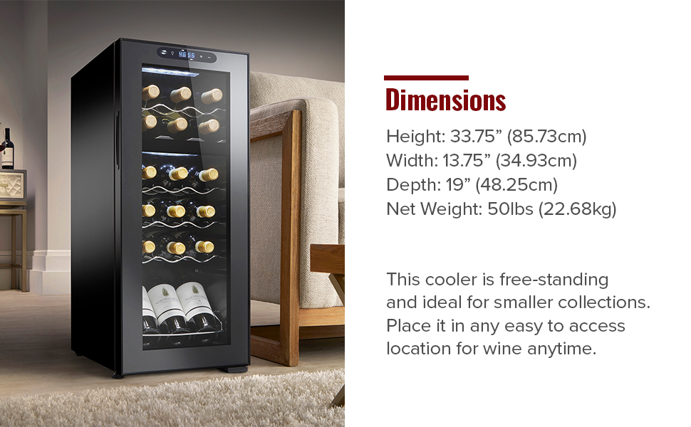 product dimensions, wine refrigerator, compressor cooling refrigerator, wine fridge, wine cooler