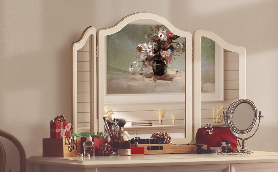 Tri fold vanity mirror