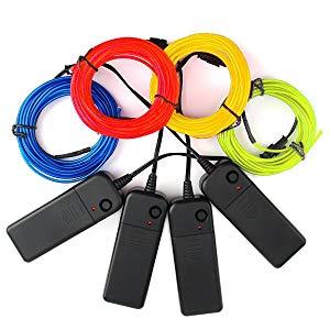 Paquete De 4 El Wire 5m Neon Glowing Strobing Electroluminiscent Wire 4 Colores Blanco Verde Rojo Amarillo Con 3 Modos De Controladores De Batería Para Decoración De Fiestas Beleuchtung