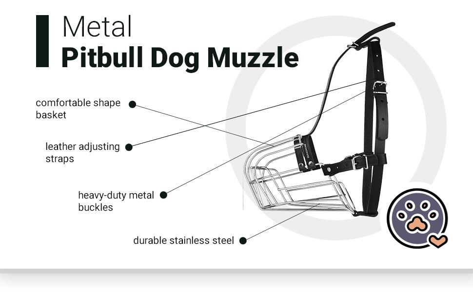 Metal dog muzzle large durable leather adjustable strap heavy-duty bukles amstaff