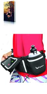 running hydration fuel belt waist bottles fitness hiking trail touchscreen clear window
