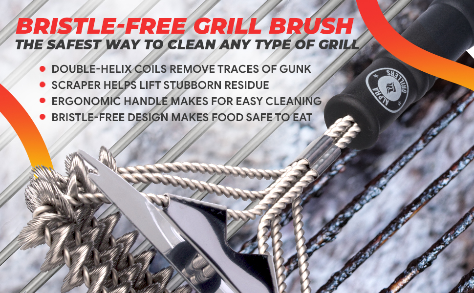 1 Bristle Free BBQ Brush by S.S BBQ Stainless Steel Grill Brush 1 Stainless Steel Basting Brush with Silicone