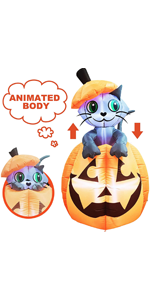 5 ft Tall Halloween Inflatable Animated Kitty Cat On Pumpkin