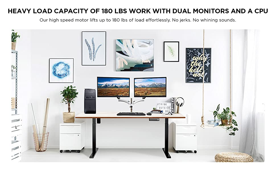 Load Capacity 180 lbs Electric Desk Frame 2 monitors 1 PC