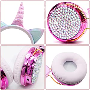 Kids headphones, wireless headphones for kids, unicorn headphones for girls, bluetooth