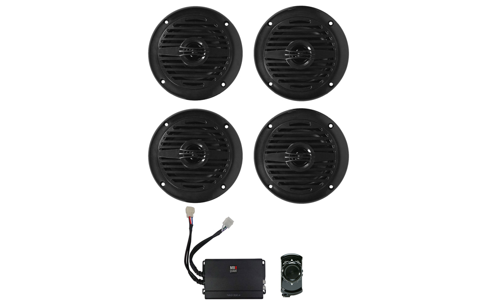 Rockville Bluetooth Receiver+4 6.5 Tower Speakers+4-Ch Amplifier RZR//ATV//UTV
