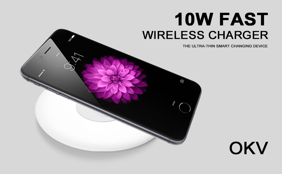 OKV Qi-Certified Wireless Charger 10w Fast Wireless Charging Pad 7.5W for iPhone Qi Devices 10W for Galaxy S9/S8/Note 9 Charger for Qi-Enabled (White)