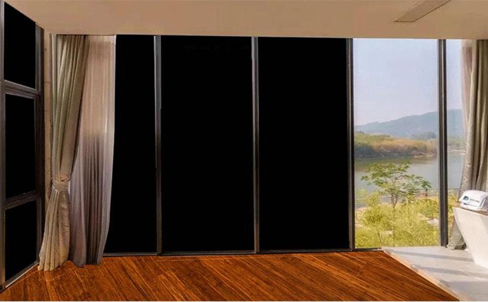 Hohofilm 17 7x78 7 100 Light Blocking Window Film Self Adhesive Blackout Film Privacy Protection Sun Blocking Glass Tint Anti Uv Window Tint For Home