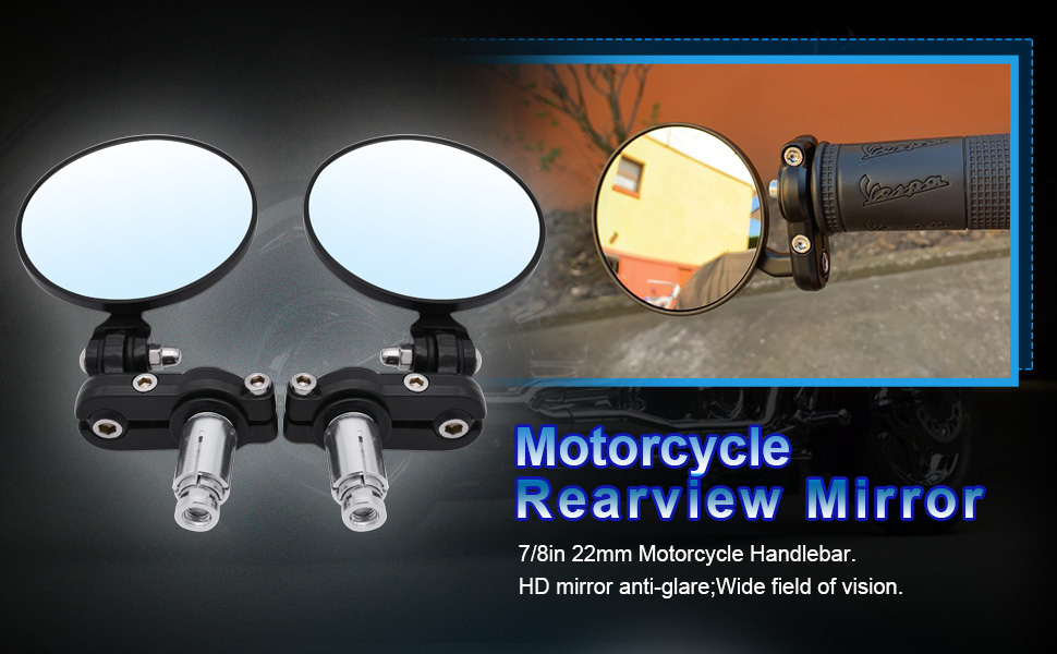 2Pcs BiuZi Motorcycle Rearview Mirror Motorcycle Modified Folding Rearview Mirror Round Side Mirrors for CAR