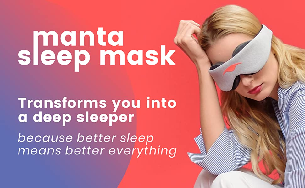 Manta Sleep Mask model wearing sleep mask deep sleeper better sleep more energy boost productivity