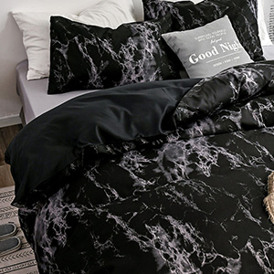 black comforter bed