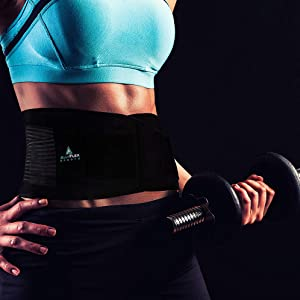 Female lifting weight while wearing the AllyFlex adjustable back brace