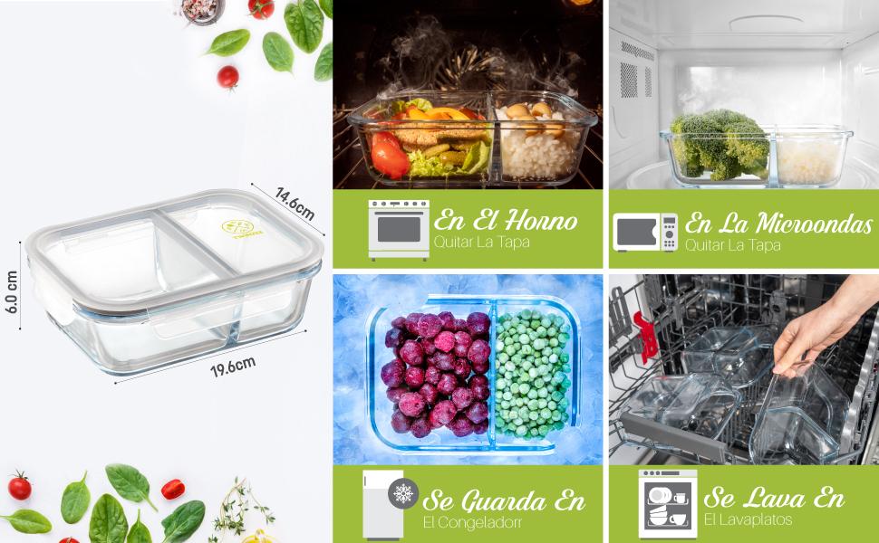 Pack 4 Recipientes de Cristal para Alimentos, 2 Compartimentos Herméticos, Tamaño XL 1040ml - Recipiente Cristal sin BPA para comidas - Tapers Meal Prep Comidas, Conservación, Congelación Alimentaria: Amazon.es: Hogar