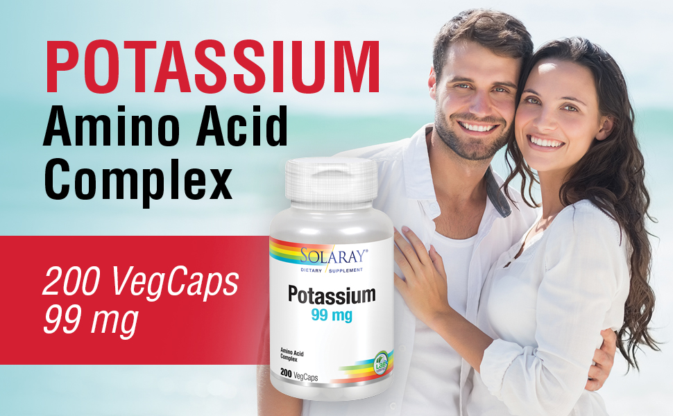 Solaray Potassium 99mg Fluid & Electrolyte Balance Formula Heart Nerve & Muscle Function Support