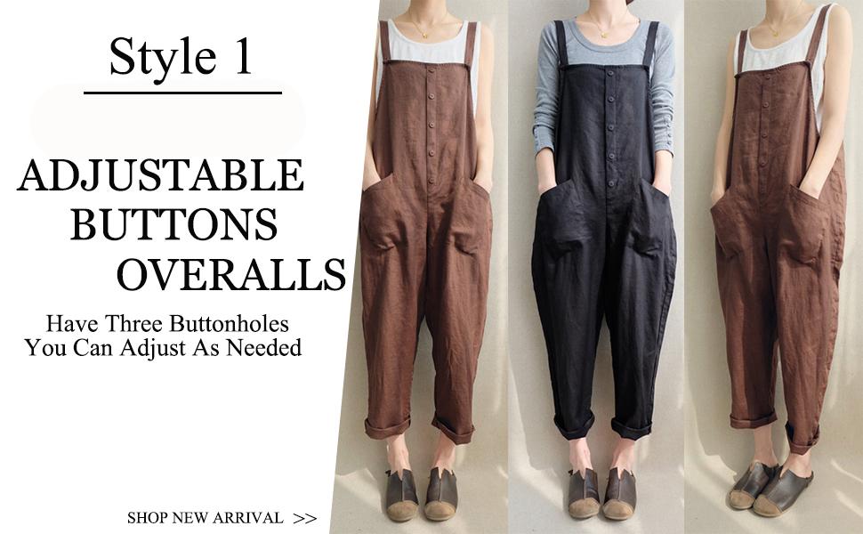 Aedvoouer Womens Baggy Plus Size Overalls Cotton Linen Jumpsuits Wide Leg Harem Pants Casual Rompers