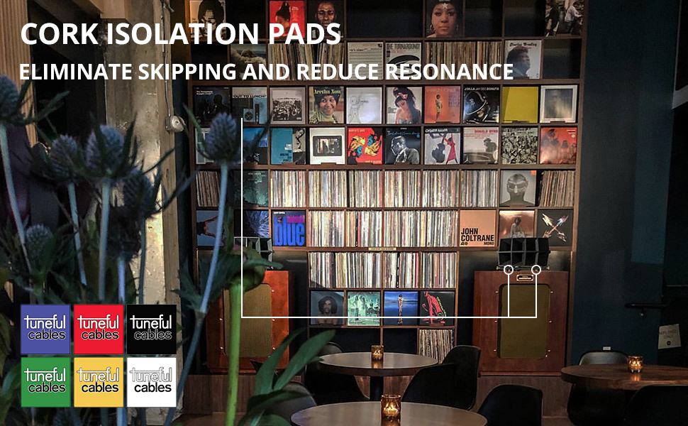 Tuneful Cables Sound Isolation Pads. Cork Pads for Speakers to Improve Sound and Reduce Vibration