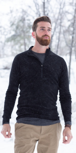 MERIWOOL Mens Half Zip Neck Collar Top lets you seal up for extra warmth or open up to cool down