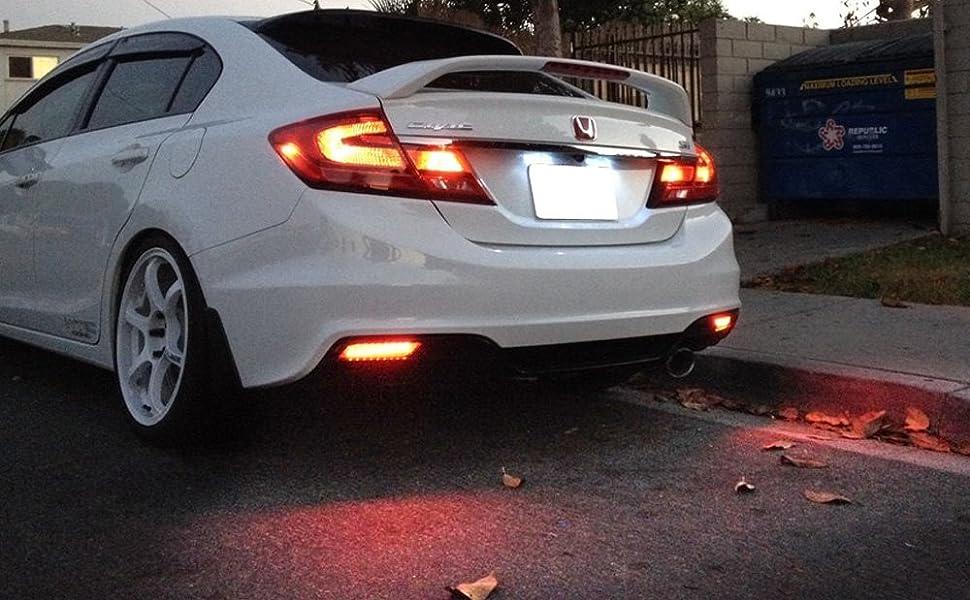 Red Lens LED Bumper Reflector Lights 13-15 Honda Civic Sedan Tail Brake Rear Fog Lamps