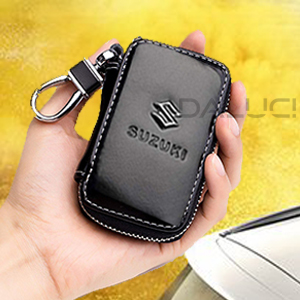 Black Premium Leather Car Key Chain Coin Holder Zipper Case Remote Wallet Bag for Suzuki