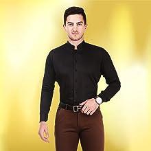 Without collar Black Shirt (tuxedo style)